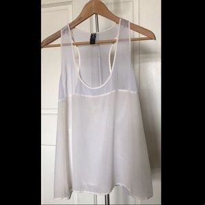 Tops - White chiffon and silk tank camisole